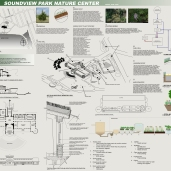 This was a design competition for a LEED Platinum nature center in the Bronx. This project was completed with Marguerite Wells (green roofing expert), Emily Ayers (environmental engineer), and Andy Bernhardt (mechanical engineer).