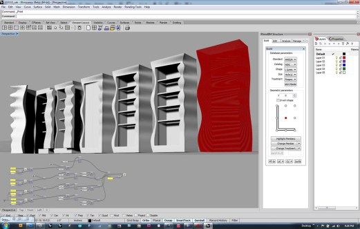 procedural model for office's bookcase, meant to showcase the institute's ability to create complex custom objects with their rapid prototyping equipment