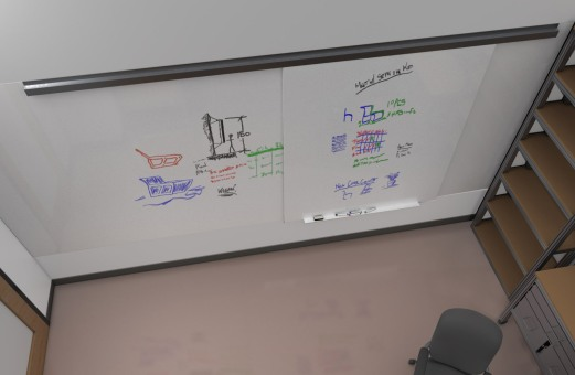 Concept rendering of sliding whiteboards on track in office