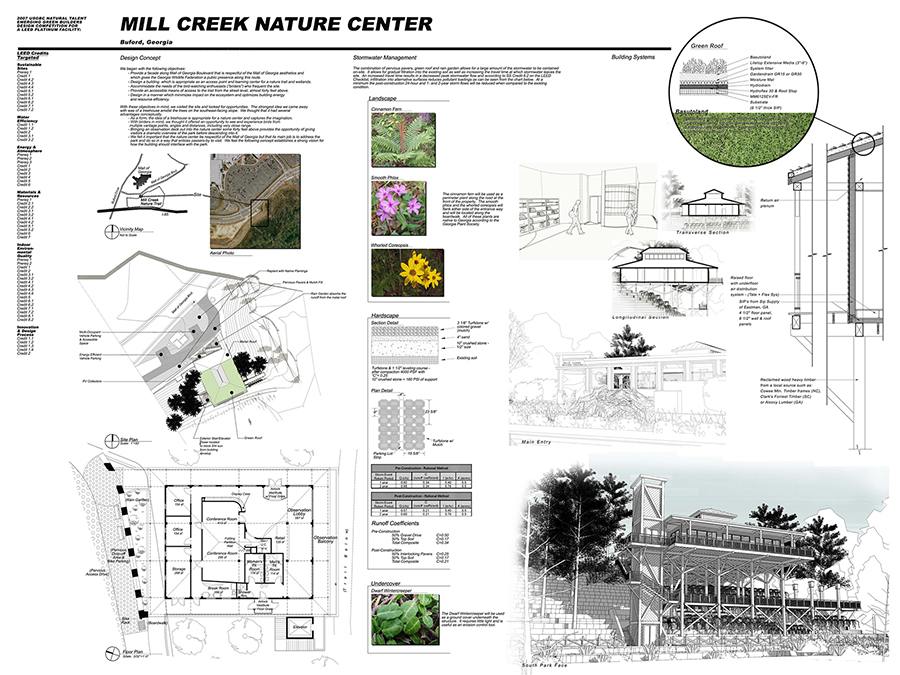 Design competition entry for a LEED Platinum nature center in Buford, GA, submitted to the 2007 USGBC Natural Talent Emerging Green Builders Design Competition, Southeast Region.  This entry was an honorable mention.  This was a collaborative effort with civil engineer, Martin Bowen.
